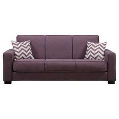 """This chic, eco-friendly convertible sofa infuses your living room with a splash of color. Featuring foam, fiber, and wrapped pocket coil cushioning, this plush design effortlessly converts into a full-size bed.  Product: Sleeper sofaConstruction Material: Polyester microfiber and woodColor: PurpleFeatures:  Converts into a full size bedThree position click style hinge which allows comfort sitting, reclining or sleepingTwo pillows included Dimensions: 36.5"""" H x 87.5"""" W x 37.75"""" D"""