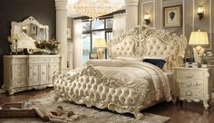 5 pc Queen Elizabeth renaissance style antique white king bedroom set with tufted padded carved headboard and footboard