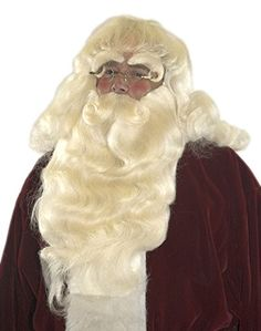 Deluxe 100% Yak Hair Santa Beard Set w Separate Mustache Lacey Wig and Beard 211c184738