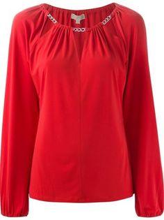 Michael Michael Kors Chain Detail Cut-out Blouse Lauren Conrad, Ralph Lauren, Michael Kors Fashion, New Look, Zara, Lingerie, Blouse, Satin, How To Wear