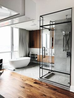 Black frame shower and free standing bath