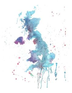 Abstract watercolor map of the UK