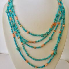 Summer necklace turquoise and coral