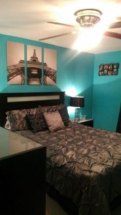 Image result for images of blue and black paris themed bedrooms