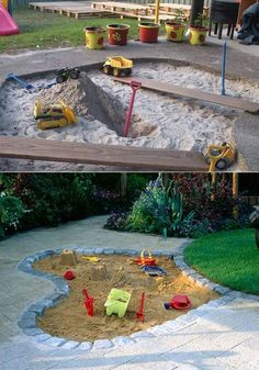 Using a location in your backyard that's near a sidewalk or concrete, adding sand can turn an area of your yard into the ultimate sandbox. #kidsplayarea #sandbox