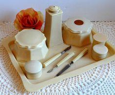Vintage 1930s Celluloid Vanity Dresser Set by TimelessTreasuresbyM on Etsy. I'd love to have this set on my dresser.