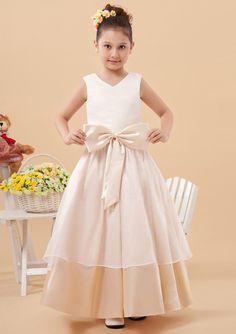 2015 Straps Satin Zipper Taffeta Bowknot Sleeveless Ruched Tea Length Flower Girl Dresses FGD