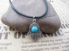 SALE -Hamsa Hand with turquoise necklace -Evil necklace - Protection Amulet,bridesmaid, best friends
