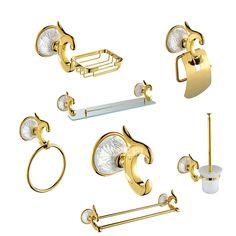 Luxury Antique Gold Bathroom Hardware Hanger Set Towel Bar Hook Soap Paper Holder Brush Bathroom 7 Pieces Combination of Package #Affiliate