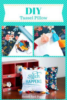 Stitch Happens DIY Tassel Pillow Cricut Sewing Blog Tour - Sweet Red Poppy