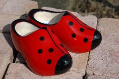 Ladybug klompen - even the Dutch are into LBs Dutch Wooden Shoes, Holland, Womens Thigh High Boots, Dutch Women, Dutch People, Shoe Last, Everyday Shoes, Fashion Mode, Clogs Shoes