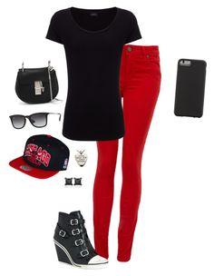 """Black and Red"" by hanakdudley ❤ liked on Polyvore featuring Paige Denim, Joseph, Ash, Chloé, Ray-Ban, Case-Mate and Eva Fehren"