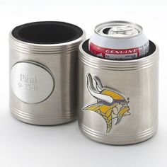 NFL Can Holder  Any sports fanatic will love this silver-plated can koozie, an ideal way to keep your favorite brew cold while watching the game. Designed to accommodate a 12-oz. (or larger) can, this unique personalized gift is emblazoned with the logo of the recipient's favorite team as well as personalization of your choice. All NFL teams available.
