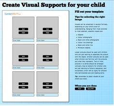 Visuals Engine - an online support to create Visual Supports for your child - FREE Select a template 1 image/page 2 images/page 4 images/page 6 images/page 12 images/page Select from photos or PCS (Boardmaker symbols).