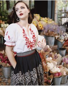 """Slavic embroidery, stitch anf folk at 🌹 Outfit by the """"Zsa Zsa skirt black"""" and """"Lenka blouse"""" 🌿 📍Sydney,… Pin Up Outfits, Summer Outfits, Idda Van Munster, Ribbon Skirts, Folk Embroidery, Glamour, Classy Women, Classy Lady, Vintage Looks"""