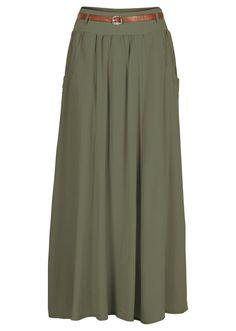 Długa spódnica marki Bodyflirt z szerokim ściągaczem w talii z modnym paskiem. Dł. w rozm. 38 ok. 94 cm. Materiał wierzchni: 100% wiskoza; Podszewka: 100% bawełna; Ściągacz: 95% bawełna, 5% elastan