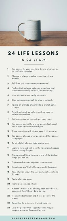 24 Life Lessons In 24 Years 24 Life Lessons in 24 Years & Life Advice & Personal Growth & Development & Mindset The post 24 Life Lessons In 24 Years & appeared first on Gesundheit . Life Advice, Good Advice, Life Tips, Life Hacks, Quotes To Live By, Life Quotes, Mindset Quotes, Work Quotes, Quotes Quotes