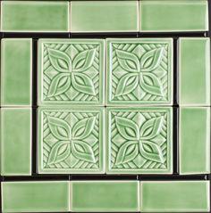 Celadon Green Deco Tile - love the spearmint color!