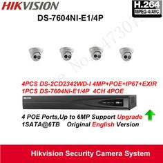 Hikvision Security Camera System 4MP Turret EXIR IP Camera  4pcs DS-2CD2342WD-I POE IP67 with 4ch POE NVR DS-7604NI-E1/4P #Affiliate
