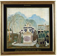 Rare and Important Embroidered and Painted Silk Mourning Picture, Sophia Morgan, Miss Abby Wright's School, South Hadley, Massachusetts, cir...