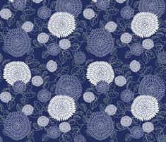 Chrysanthemums in indigo fabric - bunyipdesigns - Spoonflower