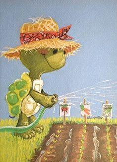 Vintage Greeting Card Suzy& Zoo Turtle by Pumpkintruckpaper Illustrations, Illustration Art, Zoo Art, Carapace, Turtle Love, Cute Turtles, Vintage Greeting Cards, Vintage Postcards, Suzy