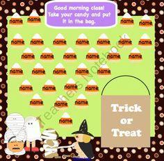 SMARTBoard Attendance Halloween 30, 20, & 15 Students product from 1-2-3-Interactive-Classro on TeachersNotebook.com