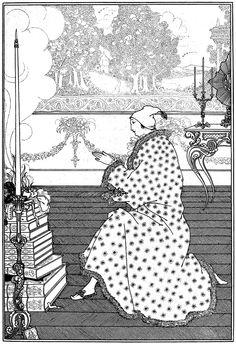 "The Baron's Prayer. Illustration by Aubrey Beardsley from ""The Rape of the Lock"" (1896)"