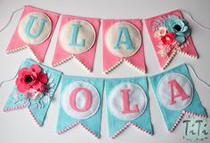 Personalized felt baby pennant banner name Custom Boho by TiTics
