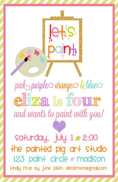 Let's Paint Birthday Party Invitations : Art Party Invitations