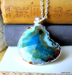Teal Aqua Ombre Necklace Geode Agate Sea Green Turquoise Gem Stone Pendant Layered Long Necklace Natural Rustic Statement Raw Mineral Large