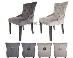x 2 New Velvet Scoop Back Dining Chair Pair Taupe Or Deep Grey Stud And Knocker | eBay