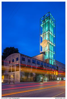 Aarhus City Hall Clock Tower at night, Denmark.