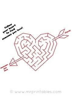 Valentine Mazes - Pinned by @PediaStaff – Please Visit ht.ly/63sNt for all our pediatric therapy pins