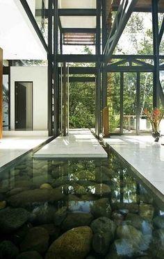 cool water work in floor in an open interior space
