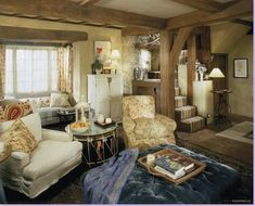 The sitting room and stairs in the English cottage from the movie, The Holiday