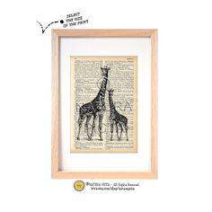Giraffe couple dictionary print-Giraffe on book page-Safari animal print-Giraffe art print-Upcycled Vintage Dictionary art-by NATURA PICTA
