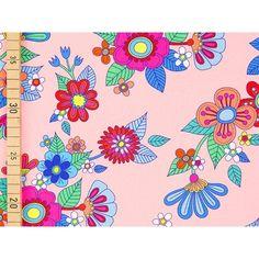 HAMBURGER LIEBE Jersey AMORE - Mio, Blumenmuster auf rosa, ÖKOTE