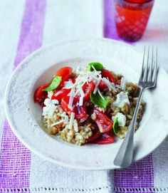 Tomato barley risotto - used hulled barley (a little slower cooking, but healthier), and swapped in goat cheese for ricotta.