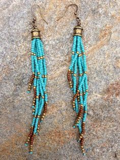 Turquoise Seed Bead Earrings, Long Seed Bead Earrings, Boho Southwestern Earrings,  Fringe Earrings, Long Seed Bead Earrings, Boho Earrings by WildHoneyPieDesign on Etsy https://www.etsy.com/listing/155976954/turquoise-seed-bead-earrings-long-seed