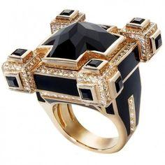 Gold 18 with Black Diamond & White Diamond