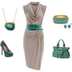Teal, created by lislyn  love that this one dress can be worn with so many different accessories