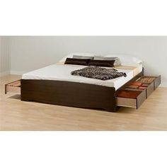 Prepac EBK-8400-K Espresso King Mates Platform Storage Bed with 6 Drawers Home Bedroom Furniture