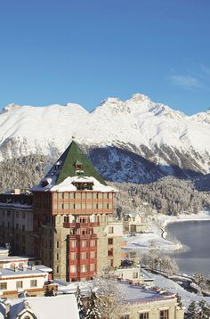 Badrutt's Palace Hotel overlooking Lake St Moritz - Canton of Graubünden, Switzerland