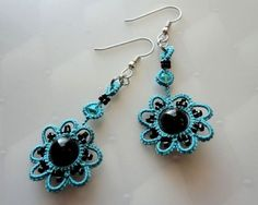 Earrings tatted in turquoise with black beads by yarnplayer, $20.00