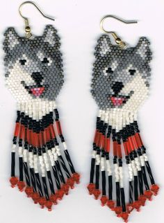 6 Hand Beaded  Laughing Grey wolf, Alaskan Malamute, Husky dog earrings with red & black in fringe