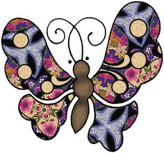 ArtbyJean - Paper Crafts: Five different butterflies - Set A-38 - Flowers and curves in Magenta Blue and Cream.