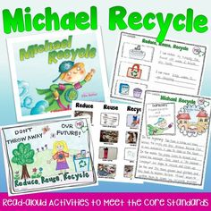 "Students design an Earth Day poster and learn about reducing, reusing, and recycling with ""Michael Recycle."""