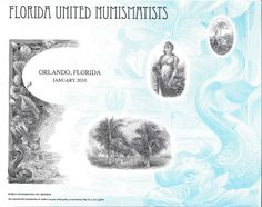 B296 BEP Souvenir Card FUN 2010 Florida State Shield Palm Trees Intaglio