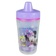 Make mealtime more fashionable. These insulated sippy cups from The First Years featuring Minnie Mouse make drinking a little more magical for your little one. You'll also love the One Piece Lid design that features a spill-proof valve system built into the lid, making clean up so easy, it's almost just as magical. There are no small parts to vanish at daycare or disappear down the garbage disposal.